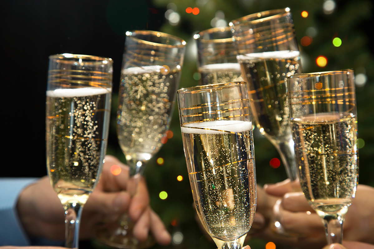 Champagne toast photo via shutterstock