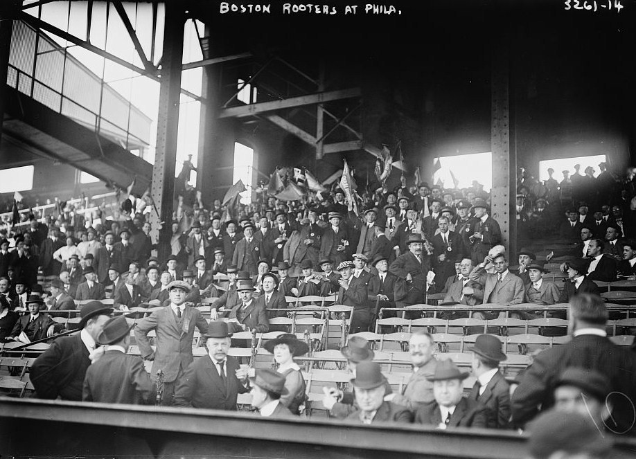 Boston's 'Royal Rooters' cheer on the Braves in Philadelphia in 1914. Via Wikimedia Commons