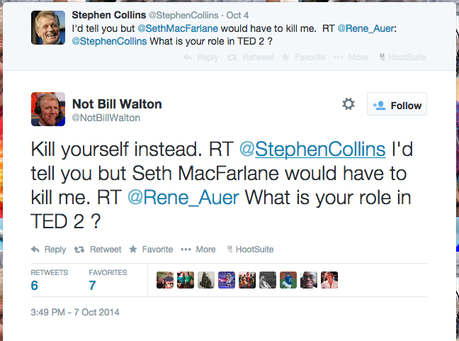 stephen collins ted 2 tweet not bill walton
