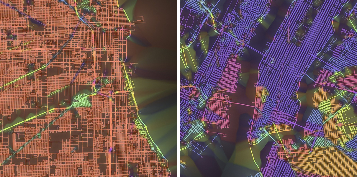 boston vs new york map Street Orientation Maps Show Boston S Charming And Quaint Layout boston vs new york map