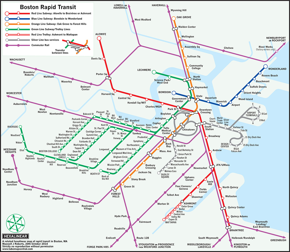 Subway Map Nyc 2014.University Of Essex Professor Reconfigures Mbta Maps With New Designs