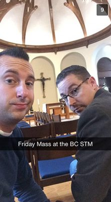 Jesuit Priest Snapchat Winner– photograph provided by Boston College