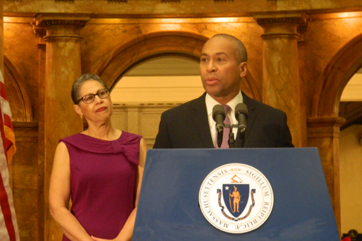 Governor Deval Patrick and President & CEO of the Massachusetts Life Sciences Center Susan Windham-Bannister, Ph.D., announce $1 million challenge grant.
