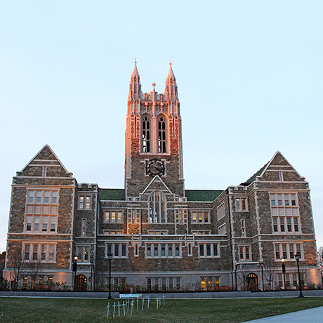 boston college gasson hall dusk sq
