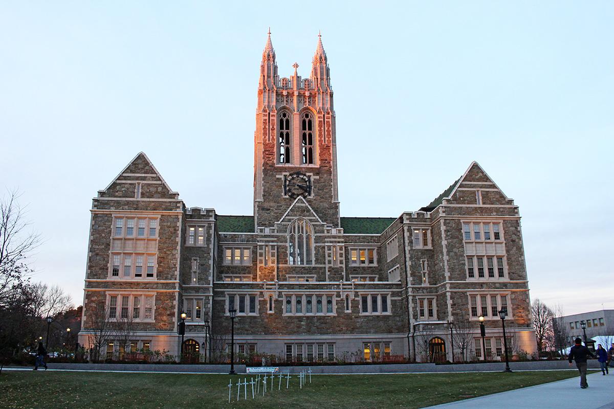 boston college gasson hall dusk
