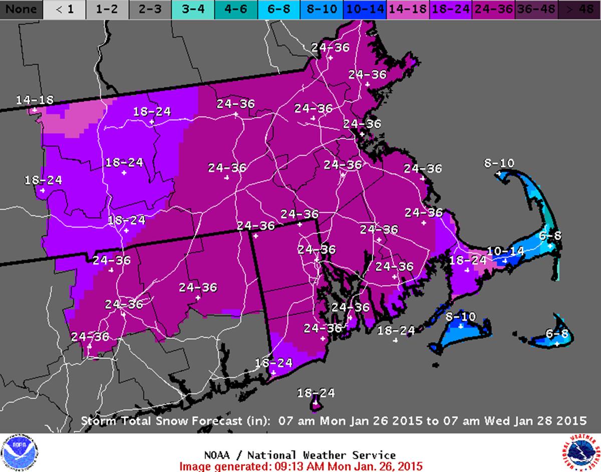 Boston snow prediction map