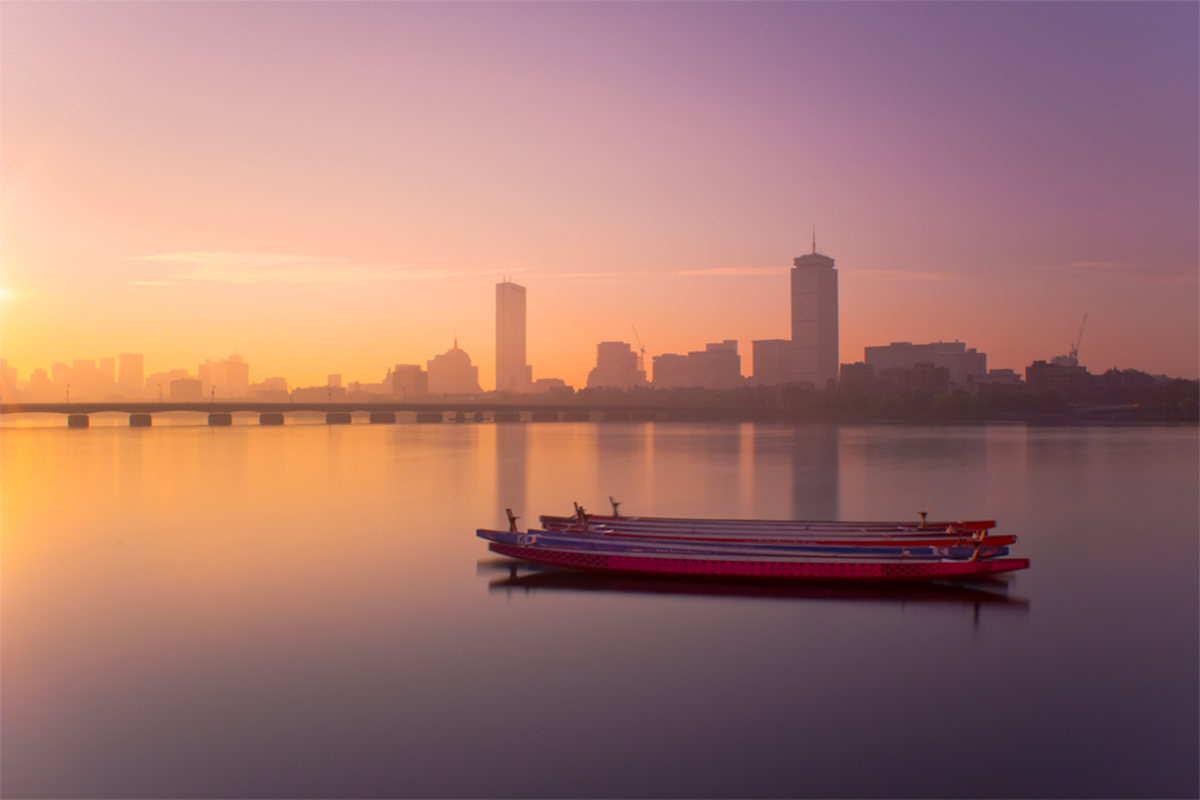 harvard bridge sunrise skyline boat