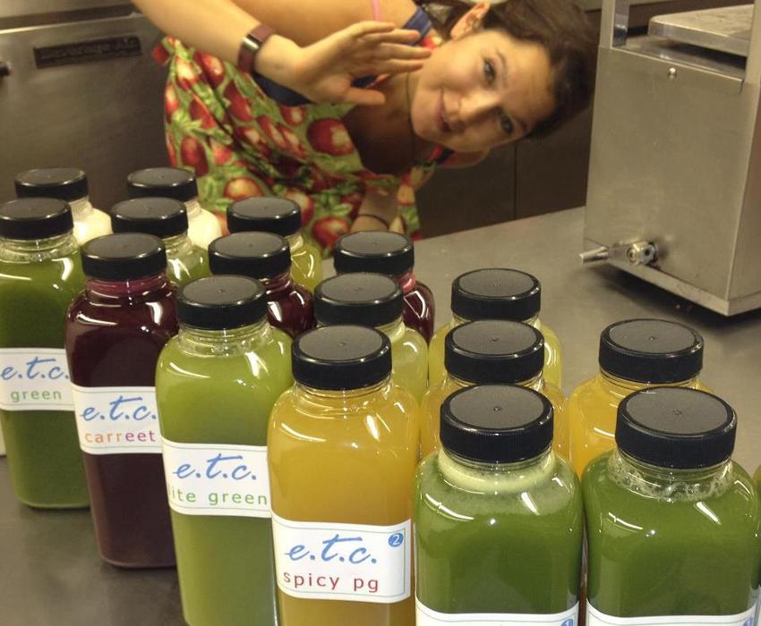 Melina making juice. Photo provided.