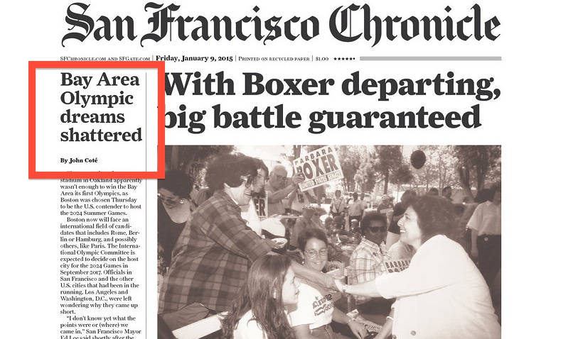 San Francisco Chronicle Front Page. Credit: The Newseum