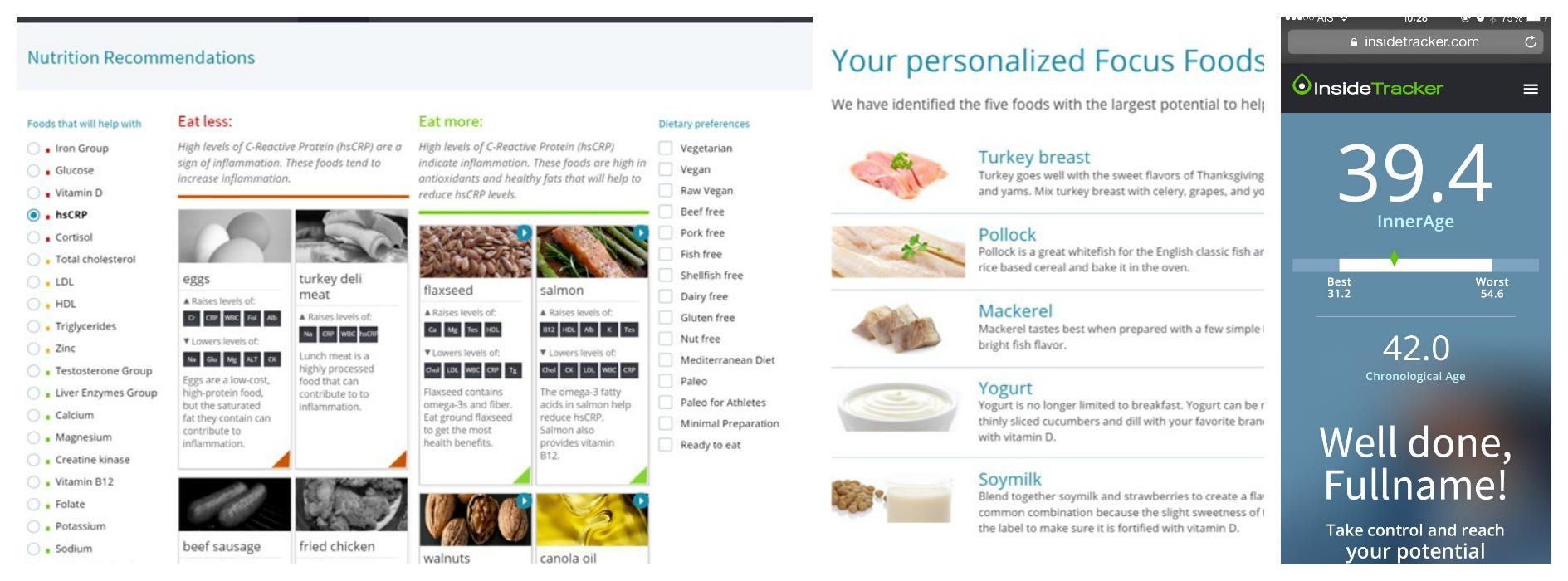 screenshots of InsideTracker and InnerAge. Photos provided.