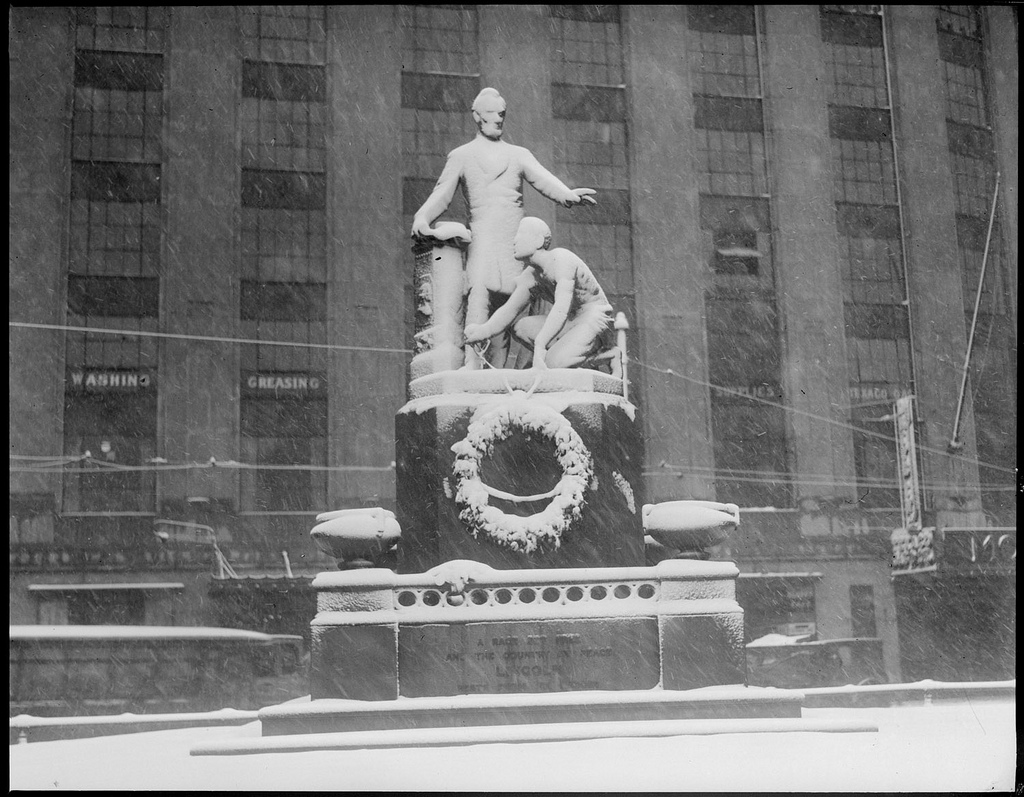 A statue of Lincoln in Park Square by Boston Public Library on Flickr.