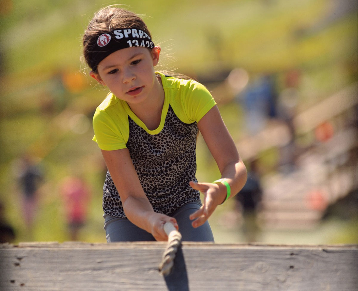 allison competing in the spartan kids race.
