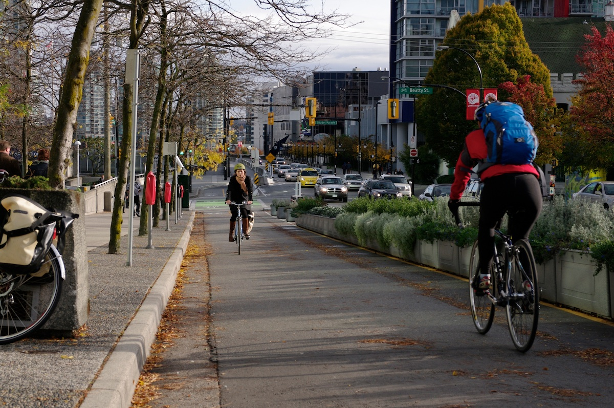 A protected bike lane in Vancouver by Paul Krueger on Flickr