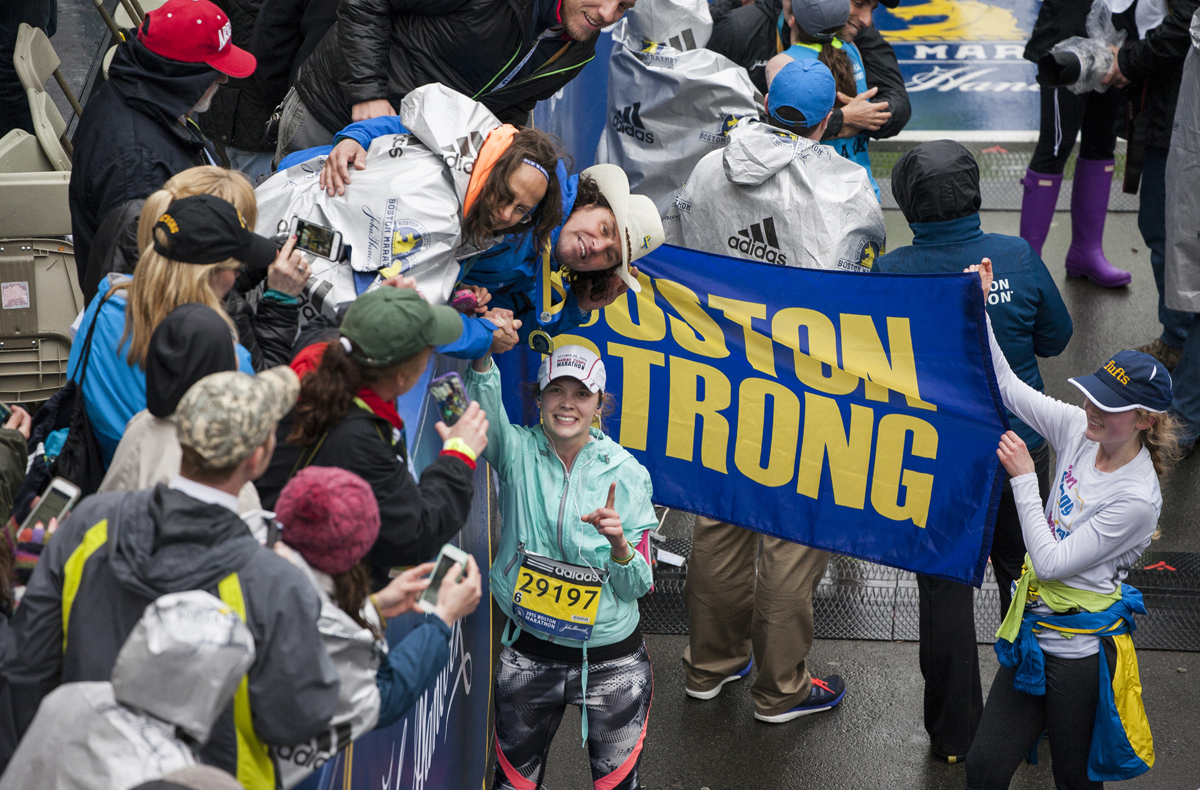 carlos arredondo finish line boston strong banner