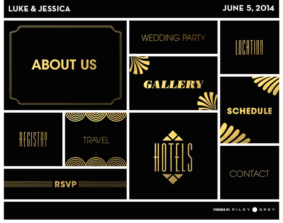 A visual vintage wedding website design from Riley & Grey