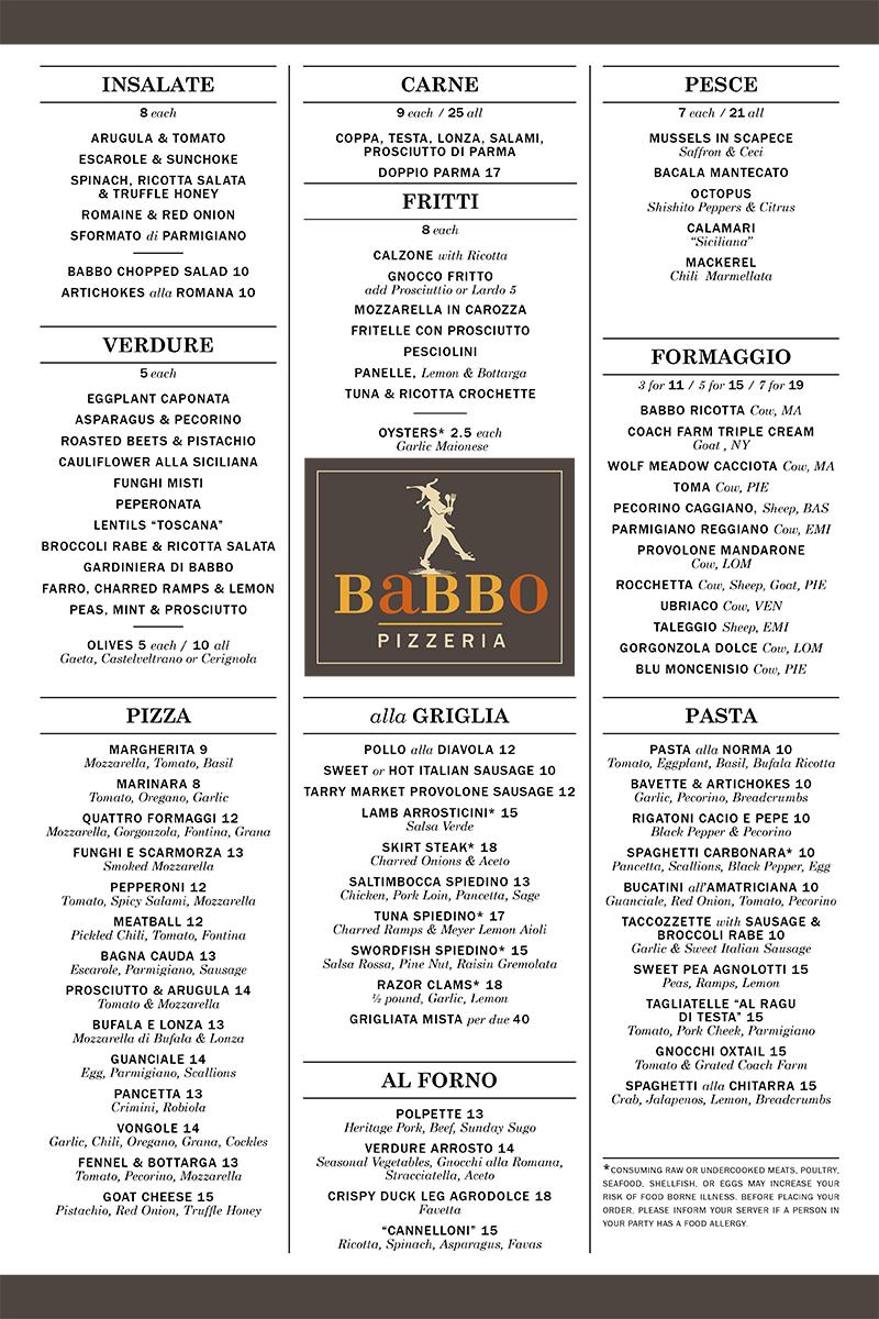 babbo menu