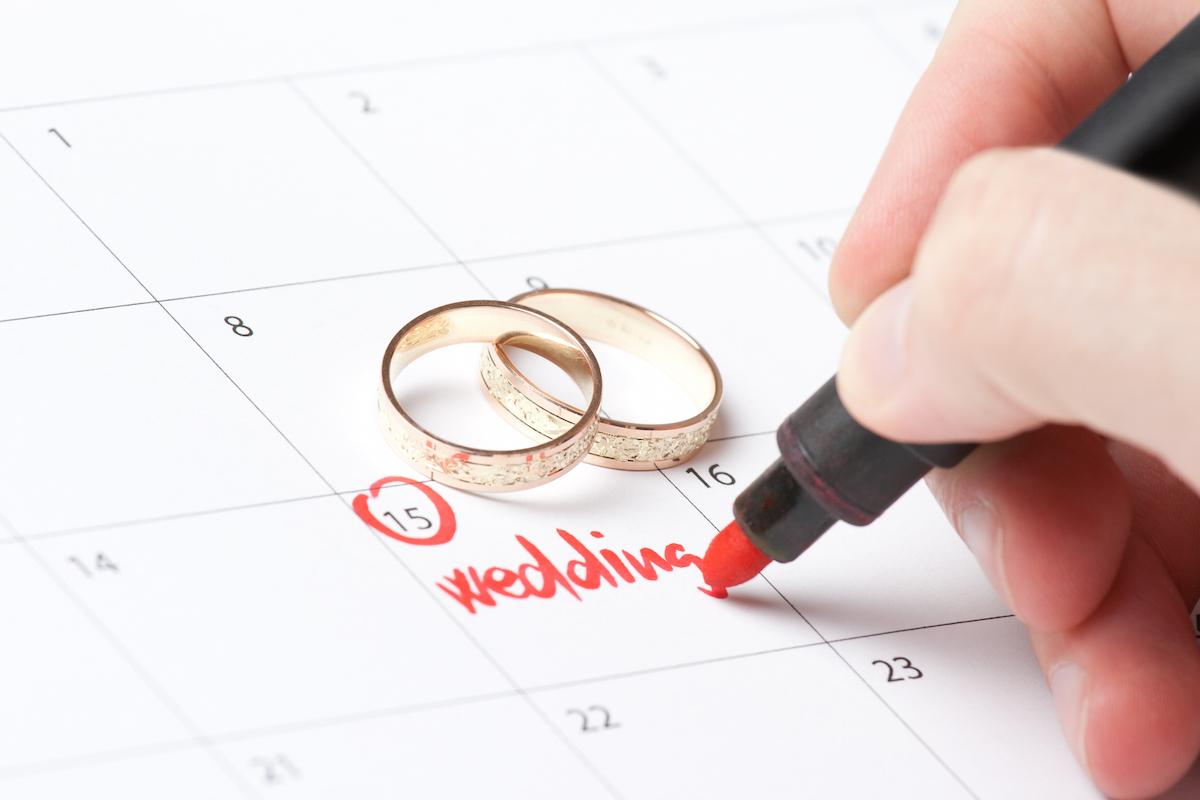 Wedding rings and hand writing word wedding into calendar via Shutterstock