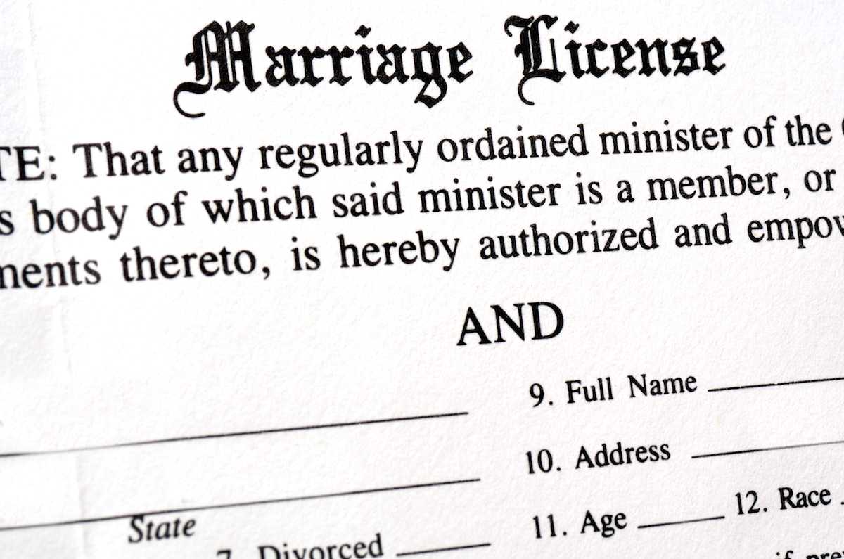 Closeup of Marriage License document form to be filled out and filed via Shutterstock
