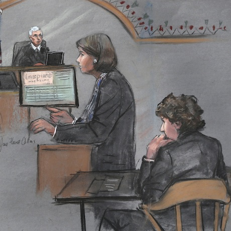 In this courtroom sketch, defense attorney Judy Clarke is depicted addressing the jury as defendant Dzhokhar Tsarnaev, right, sits during closing arguments in Tsarnaev's federal death penalty trial Monday, April 6, 2015, in Boston. Tsarnaev is charged with conspiring with his brother to place two bombs near the Boston Marathon finish line in April 2013, killing three and injuring more than 260 people. (Jane Flavell Collins via AP)