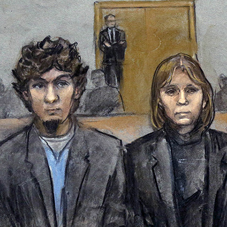 In this courtroom sketch, Dzhokhar Tsarnaev, second from left, is depicted standing with his defense attorneys William Fick, left, Judy Clarke, second from right, and David Bruck, right, as the jury presents its verdict in his federal death penalty trial Wednesday, April 8, 2015, in Boston. Tsarnaev was convicted on multiple charges in the 2013 Boston Marathon bombing. Three people were killed and more than 260 were injured when twin pressure-cooker bombs exploded near the finish line. (Jane Flavell Collins via AP)