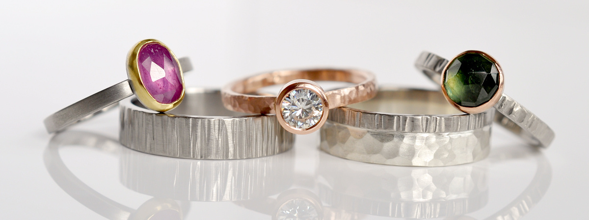 Engagement and wedding bands from designer Emily Johnson/Photograph courtesy of Fire Opal Craft Galleries