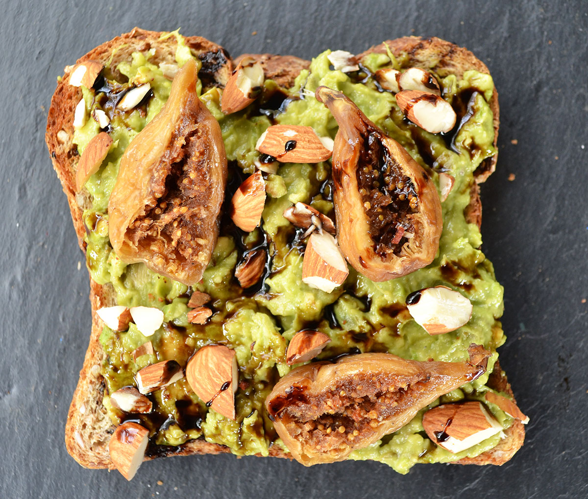 Avocado Toast with Dried Figs, Crushed Almonds, and Balsamic ...