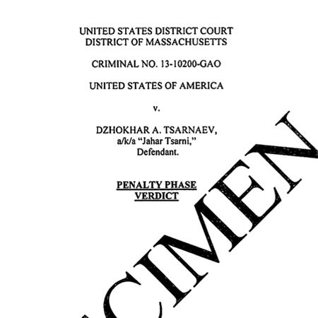 Tsarnaev Sentencing Form