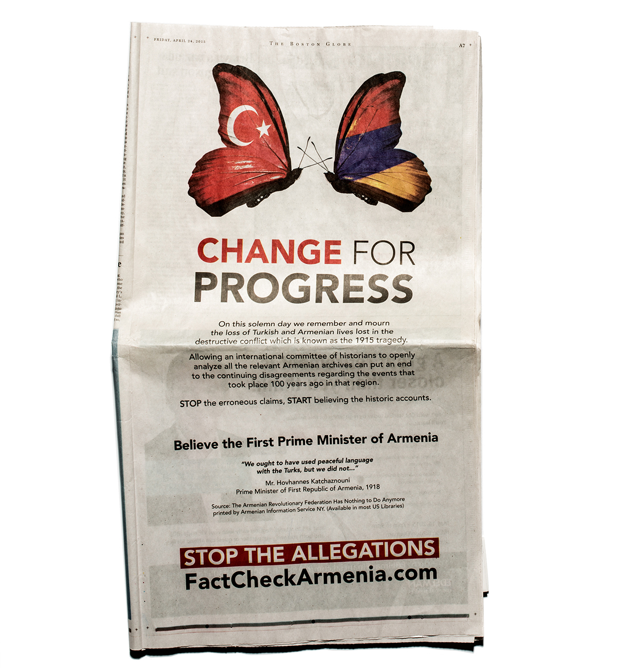 Photo of the ad in the Boston Globe by Mariel Tenney
