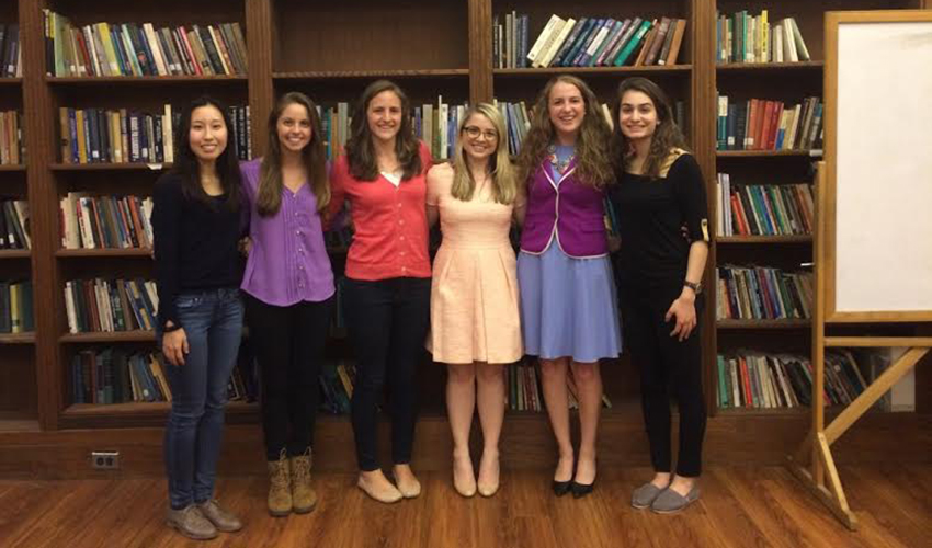 (L to R) Ayako Mikami, Julie Bacon, Annie Weber, Emily Raleigh (Guest Speaker), Erin Cullen, and Arev Doursounian.