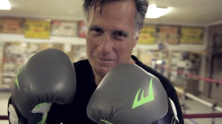 Mitt Romney prepares to fight, via YouTube