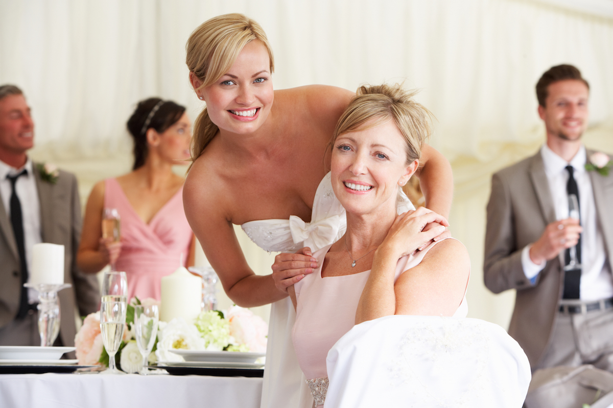 Bride with Mother at Wedding Reception via Shutterstock