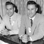 Richard, second from right, and Ronald Herrick, twins from Northboro, Mass., sing at the annual meeting of the Mended Hearts Club at the Sherry-Biltmore Hotel in Boston, Ma., on June 4, 1955.  The identical twin brothers made medical history when Ronald donated one of his kidneys to Richard in December.  Caroline Raymond, student nurse from Bernardston, Mass., plays piano and Mended Heart girl Maybell Montgomery of Hyde Park, Mass., joins in.  The Mended Hearts Club is comprised of members from all over the world who have gone through major heart surgery.  (AP Photo)