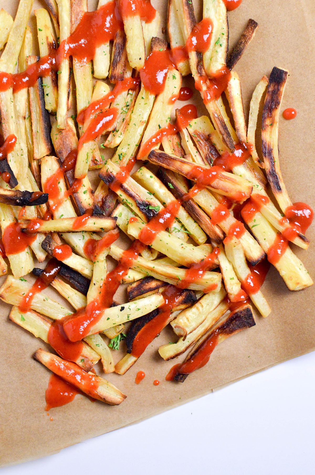 Baked Sriracha Parsnip Fries