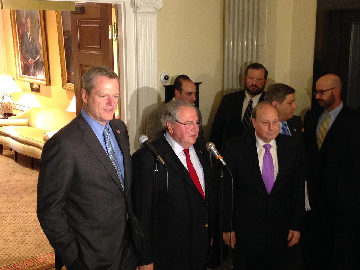 Gov. Charlie Baker, House Speaker Robert DeLeo, and Senate President Stanley Rosenberg  Photo by Garrett Quinn