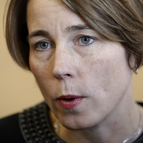 FILE - In this Jan. 22, 2015, file photo, Massachusetts Attorney General Maura Healey speaks with members of the media after testifying before the Massachusetts Gaming Commission in Boston. Healey is filing a brief with the U.S. Supreme Court arguing the Constitution prohibits discrimination against same-sex marriage. Healey has encouraged the testimony of same-sex couples in Massachusetts about how being able to get married in the first state to allow gay marriage has improved their lives. Healey, the first openly gay state attorney general in the country, will argue in a Friday, March 6, 2015, brief that the refusal of some states to license or recognize marriages between gay and lesbian couples inflicts widespread harm to the couples and their families. (AP Photo/Steven Senne, File)