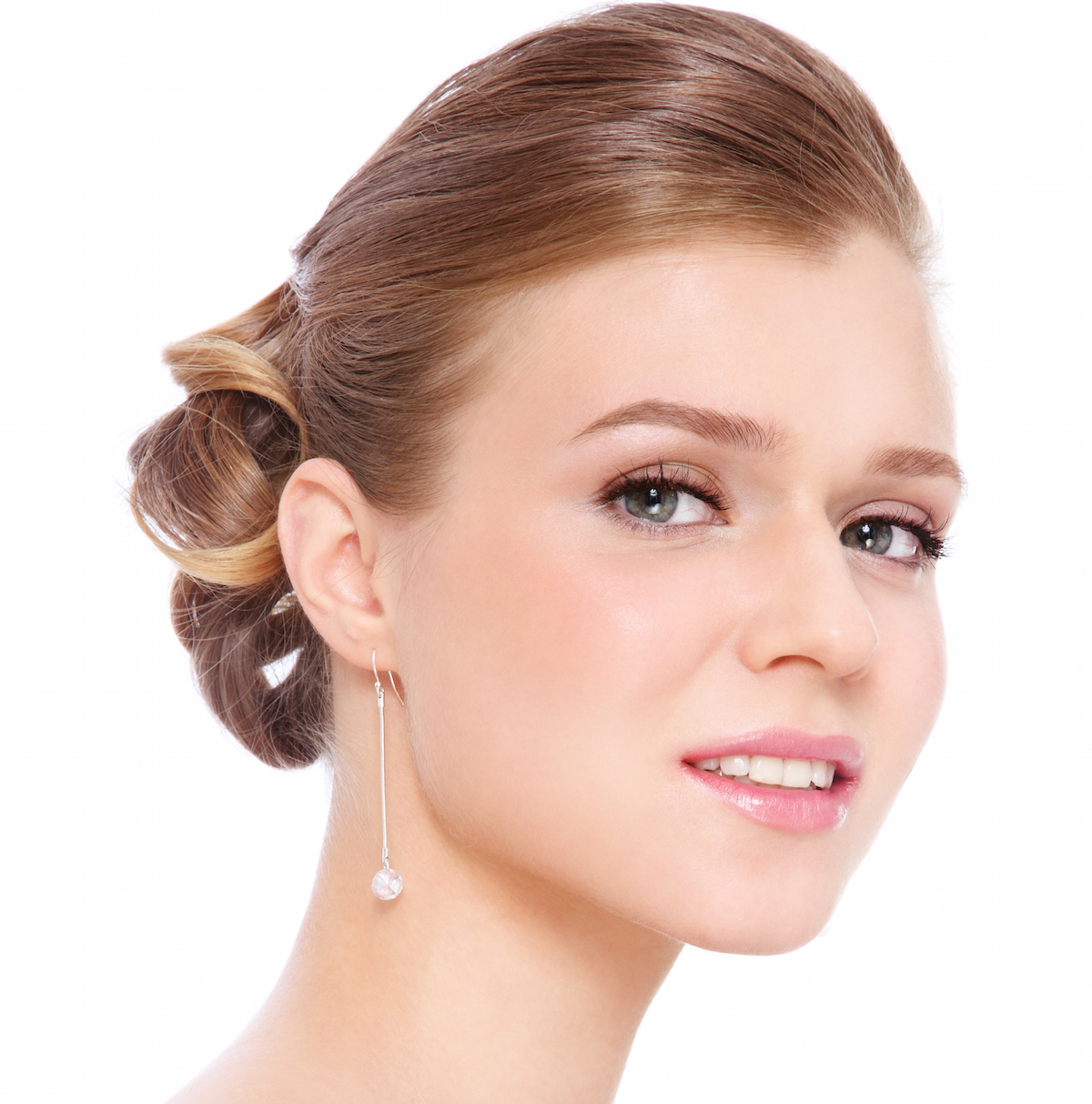 Beautiful woman with makeup on white background via Shutterstock