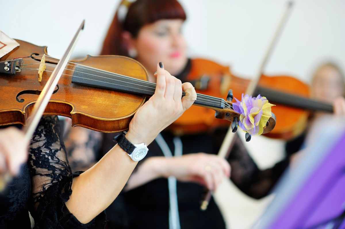 Two musicians playing violins at a wedding via Shutterstock