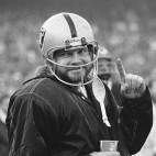 FILE - In this Dec. 27, 1976, file photo, Oakland Raiders quarterback Ken Stabler, who was sidelined in the second half of AFC championship game against the Pittsburgh Steelers in Oakland, Calif., because of bruised ribs, has a smile for photographers. Stabler led the Raiders to a 24-7 victory over the Steelers and a spot in the Super Bowl. Stabler, who led the Raiders to a Super Bowl victory and was the NFL's Most Valuable Player in 1974, has died as a result of complications from colon cancer. He was 69. His family announced his death on Stabler's Facebook page on Thursday, July 9, 2015. (AP Photo/File)