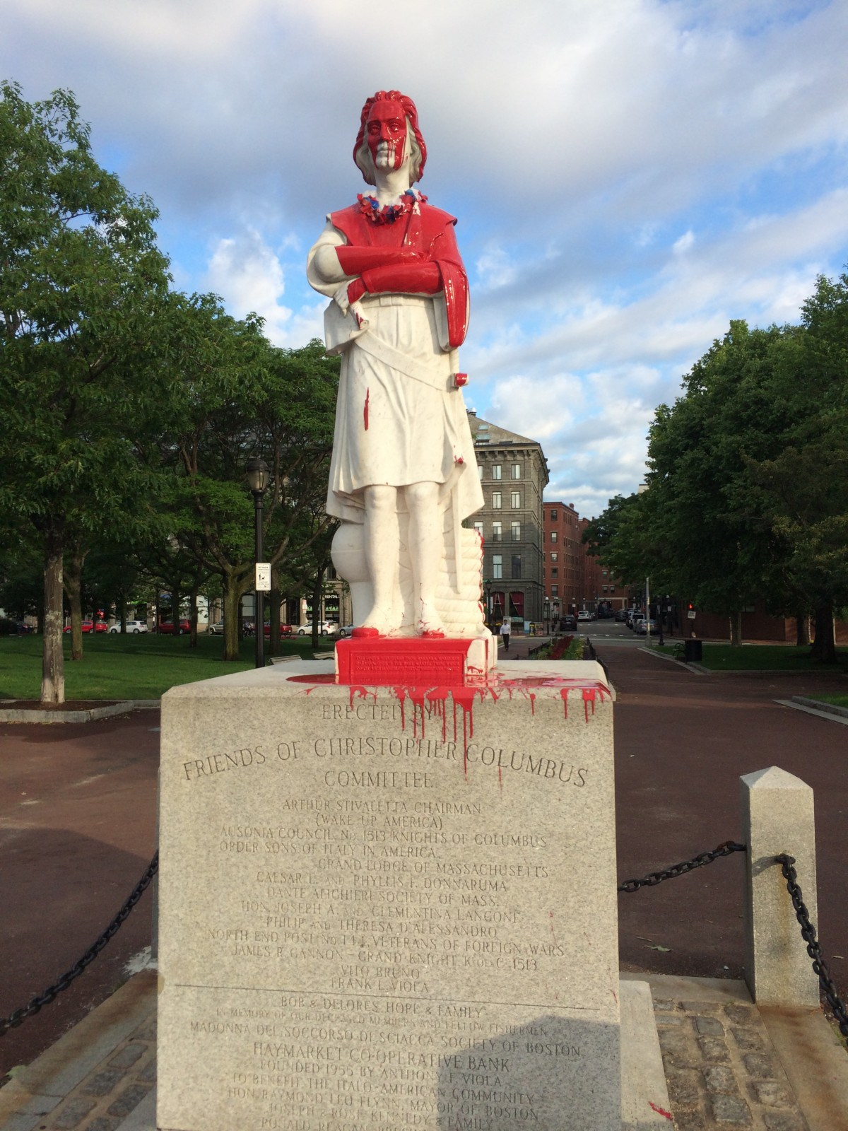 The front of the Christopher Columbus statue. Photo via NorthEndWaterfront.com