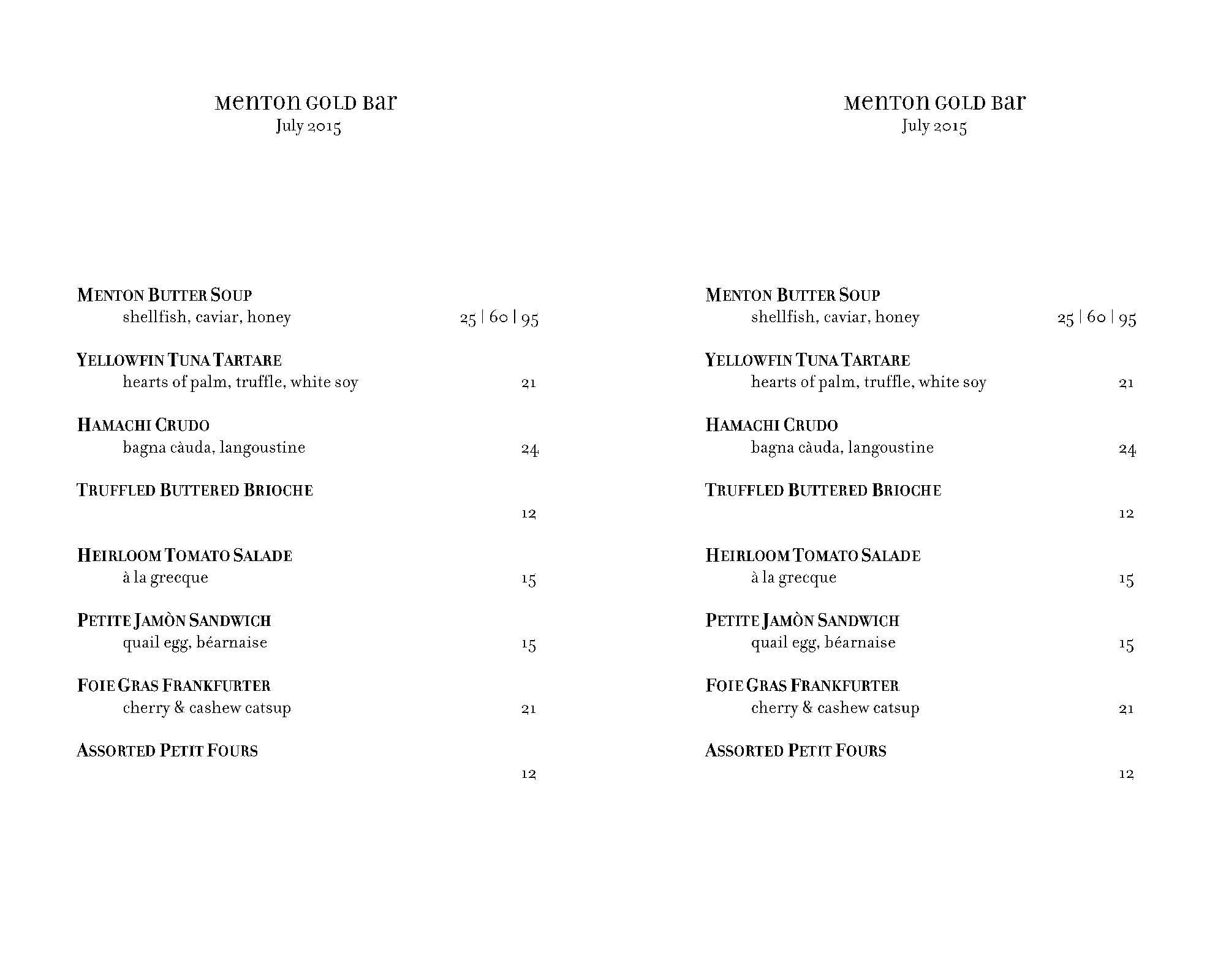 gold bar menu