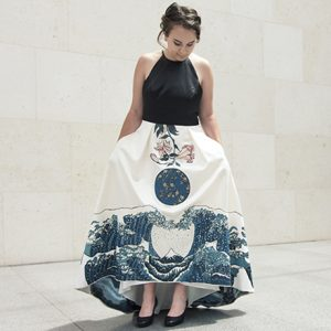 Grace Lennon models her hand-painted prom dress, inspired by works from the Hokusai exhibition at the Museum of Fine Arts, Boston. July 30, 2015Ruth and Carl J. Shapiro Family Courtyard*Photograph © Museum of Fine Arts, Boston