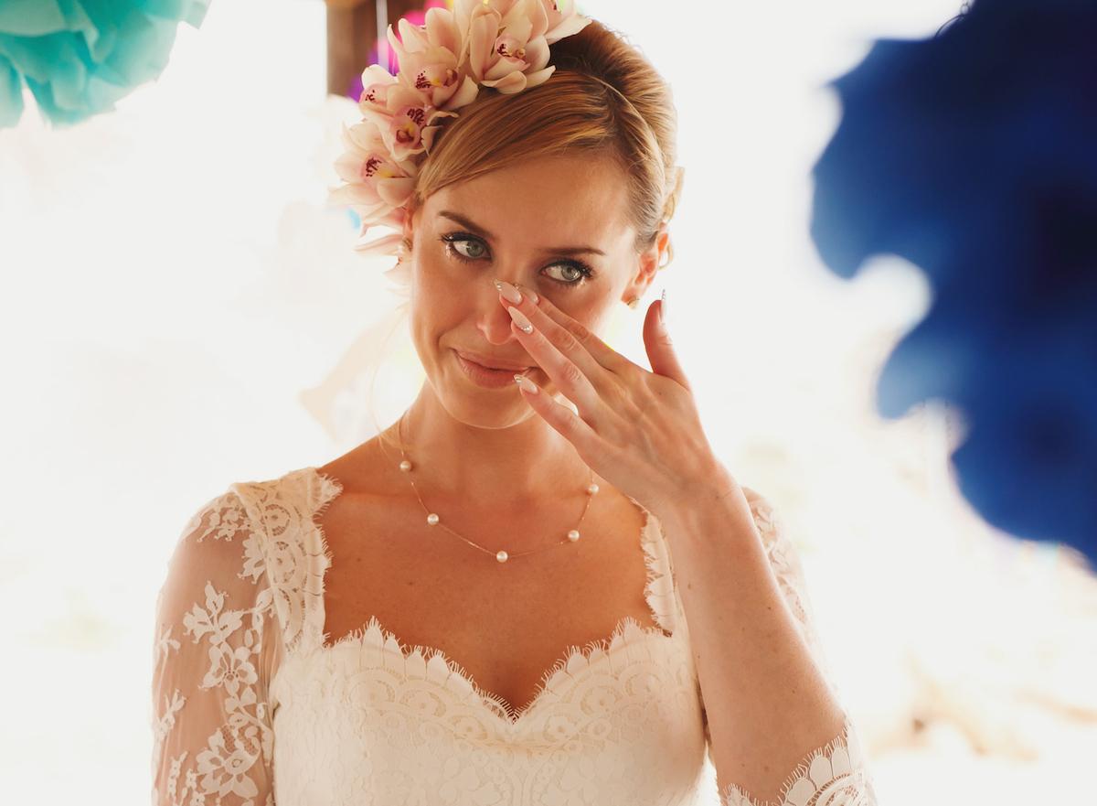 Crying bride via Shutterstock