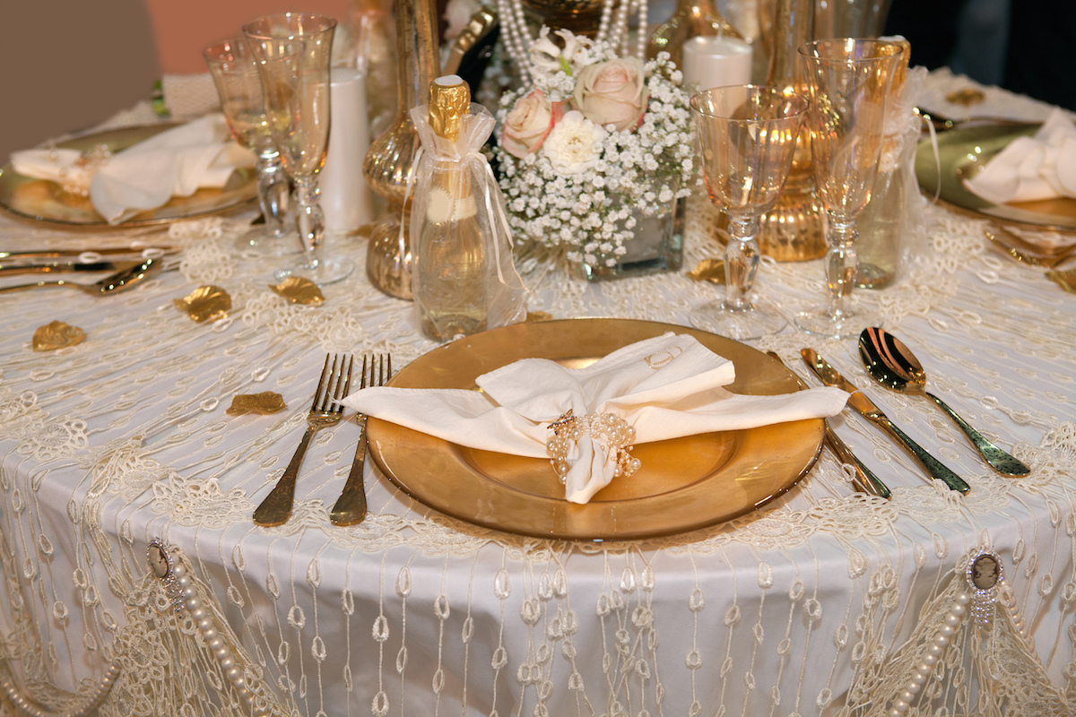 Luxurious Wedding Dinner With Golden Theme Via Shutterstock
