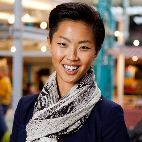 Portrait of hosts Kyle Martino and Kristen Kish at Markthalle Neun in Berlin. It's a market place that sells local, seasonal and sustainably grown foods. As seen on Travel Channel's 36 Hours in Berlin.