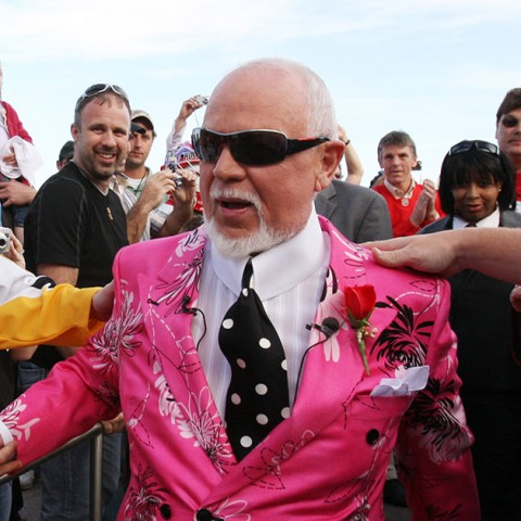 "Don Cherry, announcer on CBC's ""Hockey Night in Canada,"" is greeted by fans as he arrives for Game 2 of the NHL hockey Stanley Cup finals between the Pittsburgh Penguins and the Detroit Red Wings in Detroit, Sunday, May 31, 2009. (AP Photo/Carlos Osorio)"