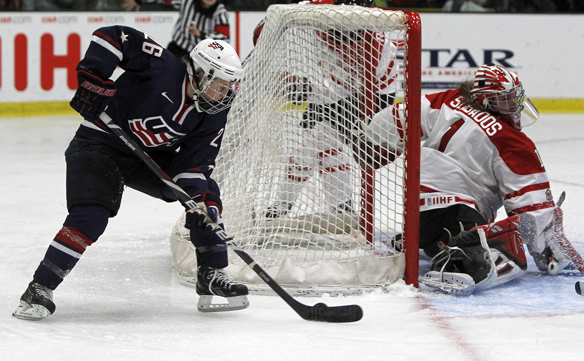 Boston Pride first-round pick Kendall Coyne at the 2012 World Women's Ice Hockey Championships. (Photo via AP)
