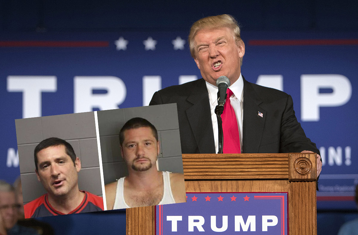 Mugshots via SUFFOLK COUNTY DISTRICT ATTORNEY'S OFFICE, Trump Photo via AP