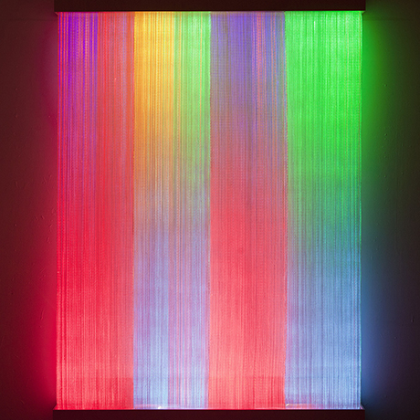 Ikat II 	Astrid Krogh (Danish, born in 1968) 	2011 	Woven optical fibers, paper yarn, and light monitors 	*Courtesy of Astrid Krogh and Galerie Maria Wettergren 	*Photography: Torben Eskerod 	*Courtesy Museum of Fine Arts, Boston