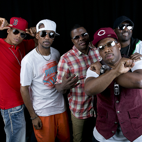 "Members of the 80s Boston boy band ""New Edition"", from left, From left, Ralph Tresvant, Johnny Gill, Ronnie DeVoe, Michael Bivins and Ricky Bell pose for a portrait in promotion of their 2014 summer tour, on Tues., June 24, 2014 in New York.  (Photo by Amy Sussman/Invision/AP)"