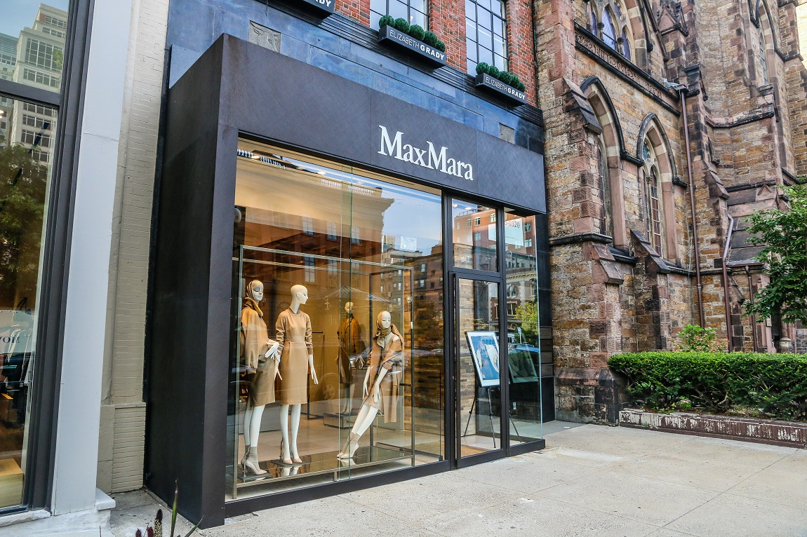 The Max Mara storefront on Newbury Street.